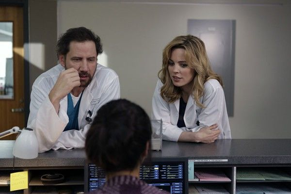 """HEARTBEAT -- """"Pilot"""" -- Pictured:(l-r) Jamie Kennedy as Dr. Callahan, Melissa George as Dr. Alex Panttiere -- (Photo by: Michelle Faye/NBC)"""